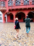 Ramsey and Kathrin walk around Freiburg.